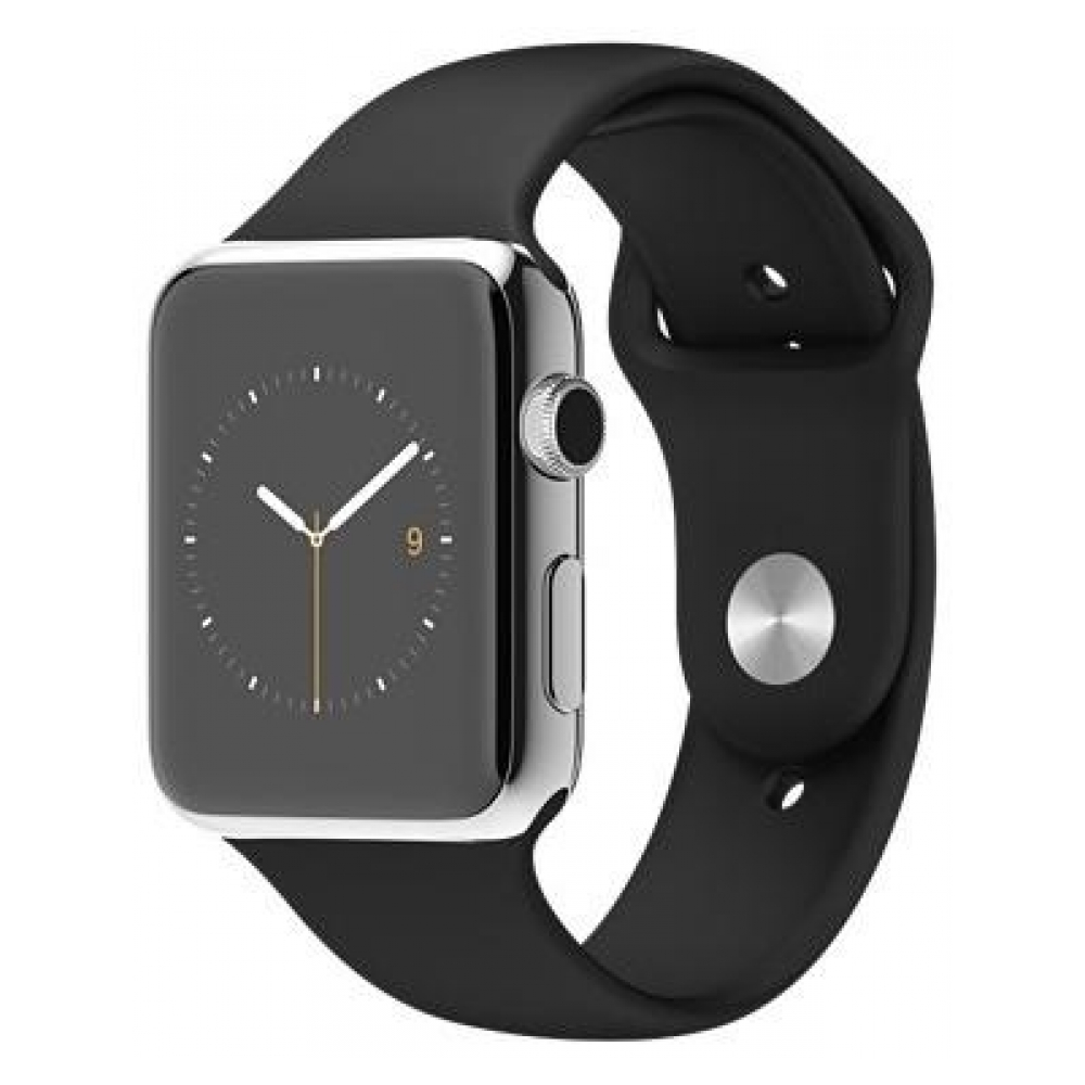 Apple Watch 42mm Stainless Steel Case with Black Sport Band (MJ3U2 ... 4b2fc42b3cee4