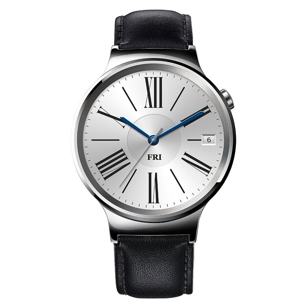 Умные часы HUAWEI Watch Stainless Steel with Black Leather Strap в ... 7c92c138a96a0