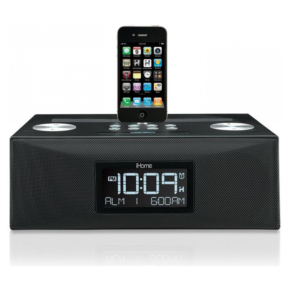 Акустическая система iHome iD84BZ App-Enhanced Dual Alarm Clock Radio для iPad/iPhone/iPod with AM/FM Presets (Black)