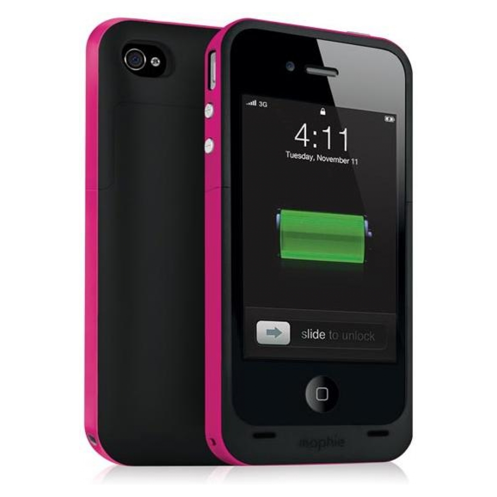 Зарядная станция Mophie Juice Pack Plus black/pink для iPhone 4/4S